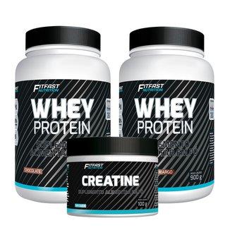 Kit 2 Whey Protein 900G + 1 Creatina Pura 100G - FitFast Nutrition