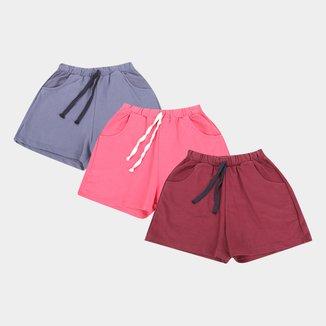 Kit 3 Shorts Básicos  Feminino