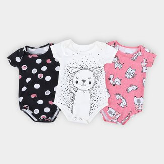 Kit Body Bebê Elian Estampados 3 Peças Feminino