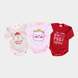 Kit Body Bebê Petutinha Manga Longa Cat 3 Peças Feminino