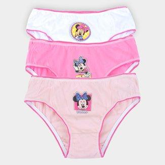 Kit Calcinha Infantil Evanilda Disney Minnie Mouse C/ 3 Peças
