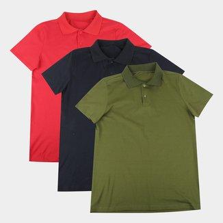 Kit Camisas Polo Volare Básicas Com 3  Peças Masculina