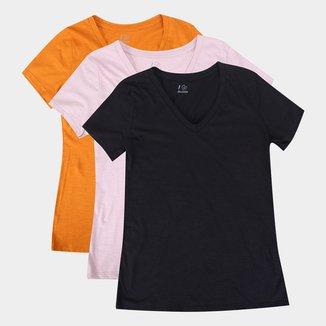Kit Camiseta Abrange C/ 3 Peças Feminina