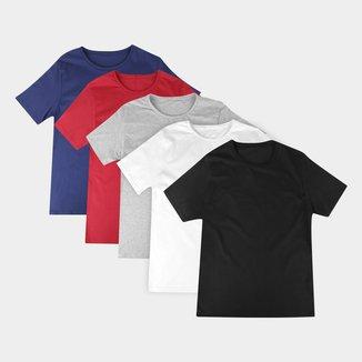 Kit Camiseta Básica Masculina c/ 5 Peças