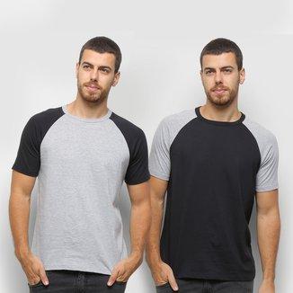 Kit Camiseta Básica Raglan Masculina c/ 2 Peças