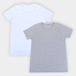Kit Camiseta Básica Volare Manga Curta Feminina - 2 Peças