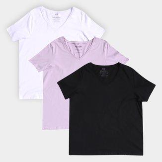 Kit Camiseta Basicamente Baby Look Gola V Feminina 3 Peças