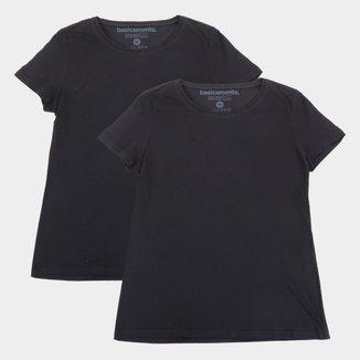 Kit Camiseta Basicamente Manga Curta Feminina 2 Peças
