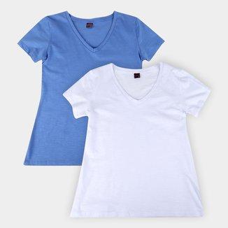 Kit Camiseta Básicos Gola V Lisa C/ 2 Peças Feminina