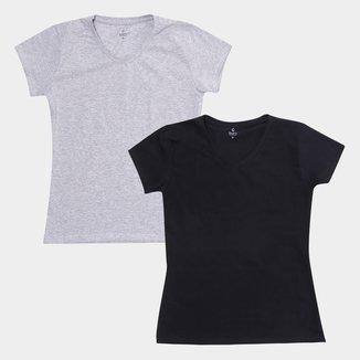 Kit Camiseta Burn Cotton Decote V Básica C/ 2 Peças Feminina