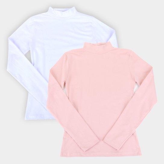 Kit Camiseta Burn Gola Alta Manga Longa C/ 2 Peças Feminina - Branco+Rosa