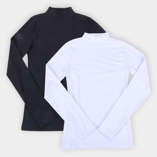 Kit Camiseta Burn Gola Alta Manga Longa C/ 2 Peças Feminina - Preto+Branco