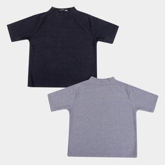 Kit Camiseta Canelada Volare Gola Alta Feminina - 2 Peças