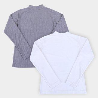 Kit Camiseta Canelada Volare Manga Longa Feminina - 2 Peças
