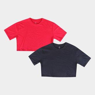 Kit Camiseta Cropped Burn Básica C/ 2 Peças Feminina