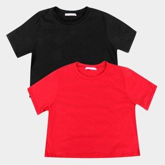 Kit Camiseta Cropped Volare Feminina 2 Peças