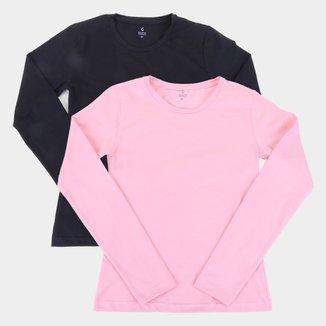 Kit Camiseta Manga Longa Burn Básica Cotton C/ 2 Peças Feminina