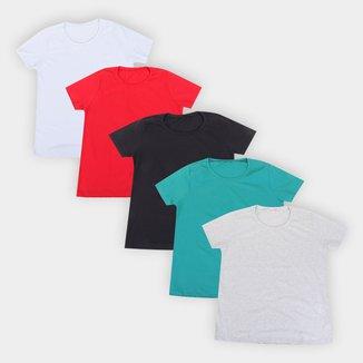 Kit Camiseta Volare Básica Feminina 5 Peças