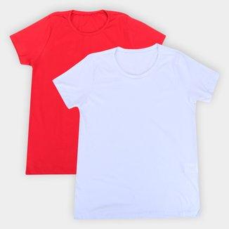 Kit Camiseta Volare Básica Manga Curta Feminina - 2 Peças