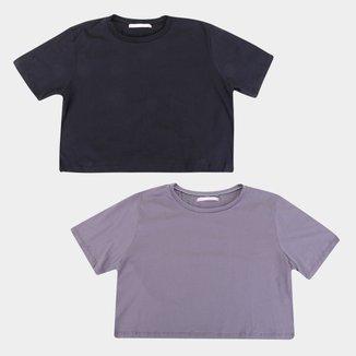 Kit Camiseta Volare Cropped Manga Curta Feminina - 2 Peças
