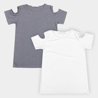 Kit Camiseta Volare Recortes Ombro Feminina 2 Peças
