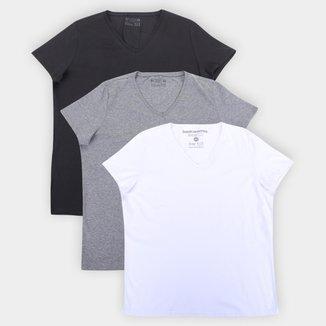 Kit Camisetas Basicamente Baby Look Lisas 3 Peças Femininas