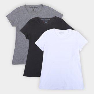 Kit Camisetas Basicamente Baby Look Lisas Com 3 Peças