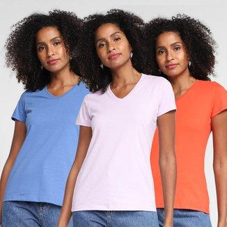 Kit Camisetas Basicamente Babylook 3 Peças Feminino