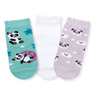 Kit Cia da Meia Meia Infantil Cano Baixo Panda c/ 3 Peças Feminina