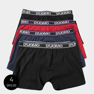 Kit Cueca Boxer Duomo Cotton Elástico 4 Peças