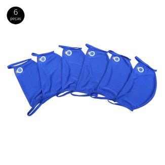 Kit de Máscaras de Proteção Cruzeiro Modelagem Ampla Laváveis - 6 Unid