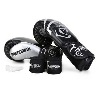 Kit Luva de Boxe/Muay Thai Pretorian Elite 12 Oz + Bandagem + Protetor Bucal