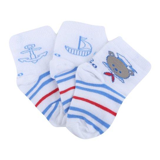 Kit Meia Infantil Cano Médio Lupo Lisa C/ 3 Pares Masculina - Branco+Azul