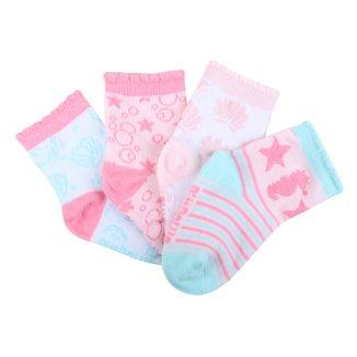 Kit Meias Bebê Pimpolho Cano Curto Coloridas 4 Pares Feminino