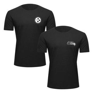 Kit NFL Camiseta New Era Pittsburgh Steelers + Camiseta New Era Seattle Seahawks Masculino