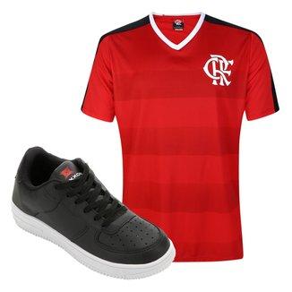 Kit Tênis Force Saxxon Masculino + Camisa Flamengo Manto Sagrado n° 9 Masculina Tamanho M