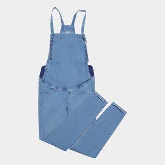 Macacão Jeans Cambos Cropped Gestante Feminino
