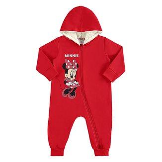 Macacão Moletom Bebê Disney Minnie Mouse Peluciado Capuz Feminino