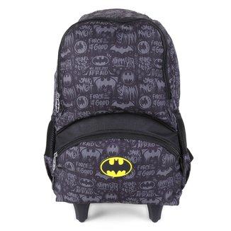 "Mochila Com Rodinhas Infantil Luxcel Batman 18"" Masculina"