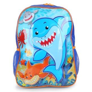 "Mochila Escolar Infatil Clio Style Shark 16"" Masculina"