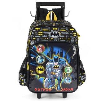 """Mochila Escolar Luxcel Batman 16"""" Com Carrinho"""