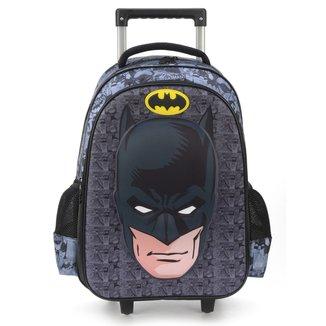 """Mochila Escolar Luxcel Batman 17"""" c/ Carrinho"""
