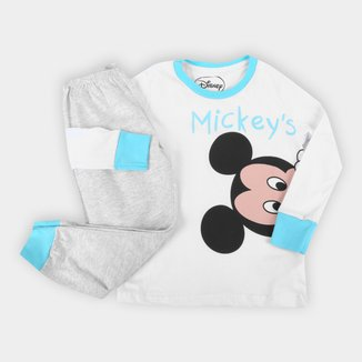 Pijama Bebê Longo Evanilda Disney Mickey Mouse