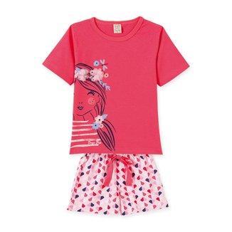 Pijama Bebê Pingo Lelê Short Doll Flores Corações Feminino