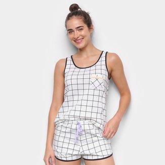 Pijama Cor Com Amor Short Doll Regata Xadrez Feminino