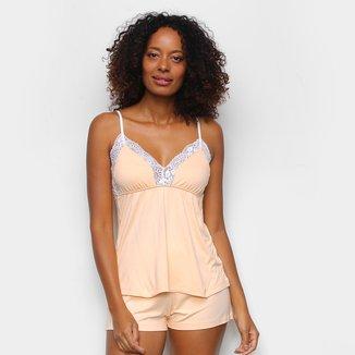 Pijama Cor Com Amor Shorts Doll Alças Renda Feminino