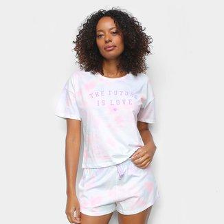 Pijama Cor Com Amor Shorts Doll Manga Curta Tie Day Feminino