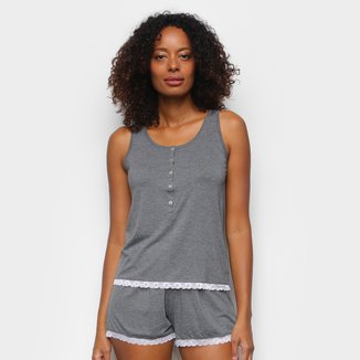 Pijama Cor Com Amor Shorts Doll Regata E Renda Feminino