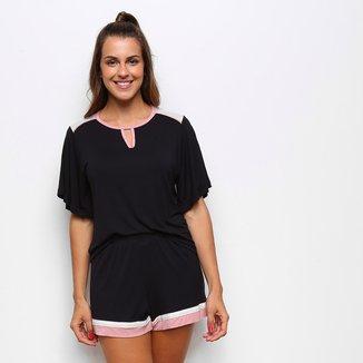 Pijama Curto Cor Com Amor Shorts Doll E Blusa Com Recorte Feminino