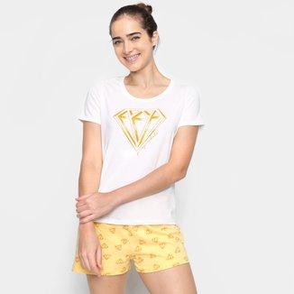 Pijama Curto Hering Coração Feminino